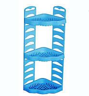 Полка пластиковая для ванны угловая Роса 3 уровня Голубая KN-061