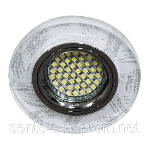Встраиваемый светильник Feron 8686-2 с LED подсветкой прозрачный серебро