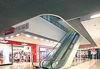 Кубообразный потолок. Рейка 34х80 шаг 100. Цвет - серый.