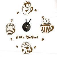 Виниловая наклейка-часы Feron NL23 кофе 4541