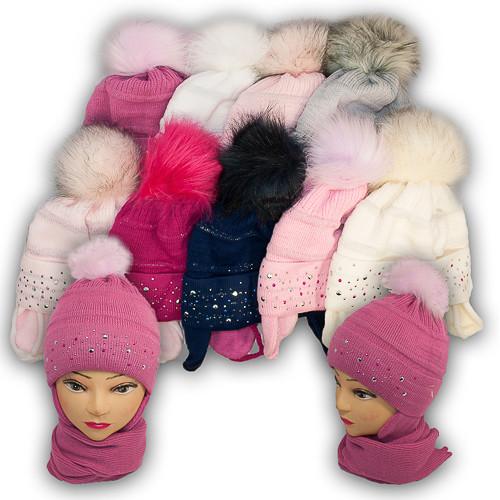 Комплект шапка и шарф для девочки, Agbo (Польша), подкладка флис, ZANETA 829