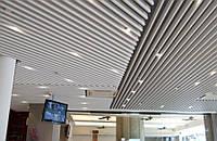 Кубообразный потолок. Рейка 34х100 шаг 100. Цвет - серый.