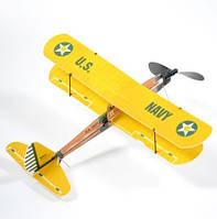 Самолет резиномоторный биплан ZT Model Aviator 430 мм (модель самолета, сборные модели самолетов)