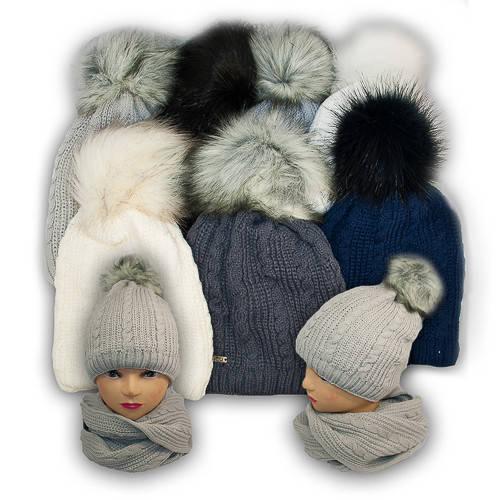 Комплект шапка и шарф (хомут) для девочки, Agbo (Польша), подкладка флис, ERA 909