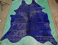Темно синяя огромная крашенная шкура коровы с черными пятнами, фото 1