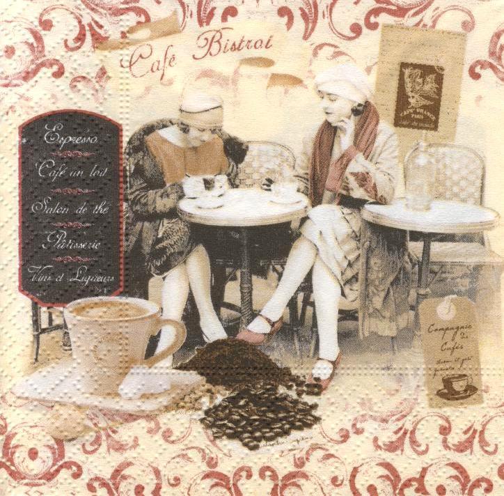 Декупажная салфетка Подруги в кафе 784