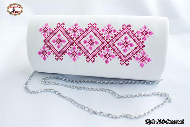 Вышитый розовый клатч Волна, фото 2