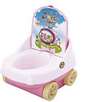 Детский горшок со спинкой и на колесах
