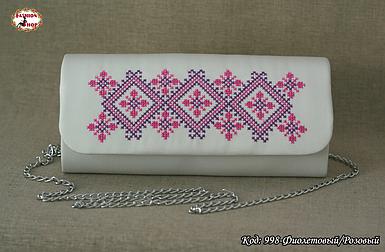 Вышитый фиолетово - розовый клатч Волна
