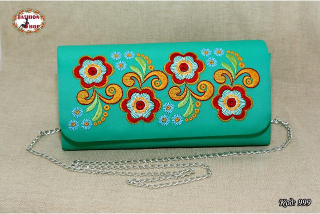 Вышитый бирюзовый клатч Цветок, фото 2
