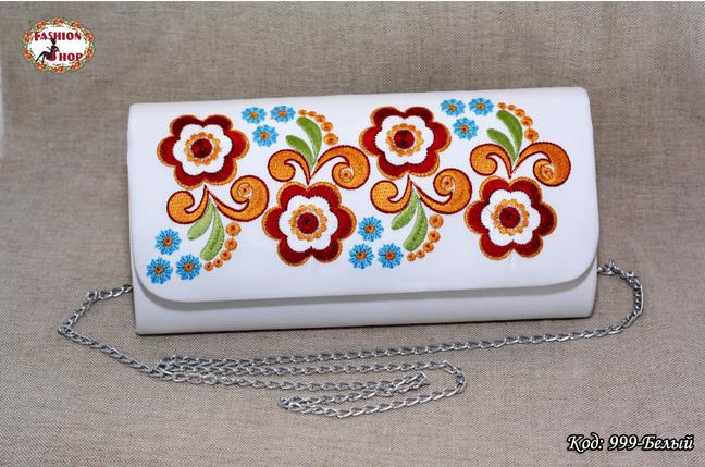 Вышитый белый клатч Цветок, фото 2