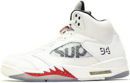 Мужские кроссовки Nike Air Jordan 5 Supreme White 824371 101, Найк Аир Джордан 5, фото 2
