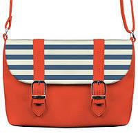 Коралловая сумка Бриф с принтом Синие полосы