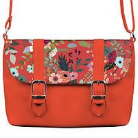 Коралловая сумка Бриф с принтом Цветочная фантазия
