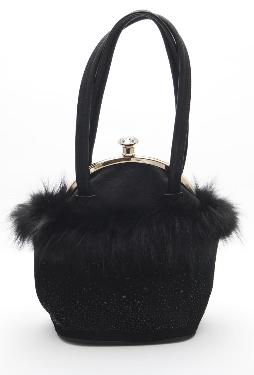 Оригинальная маленькая женская сумочка с меховой оборкой Б/Н art. 8086