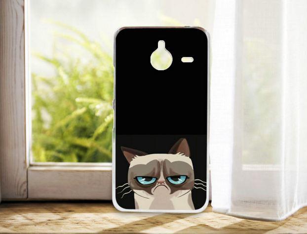Бампер силиконовый чехол для Nokia Lumia 640 XL с рисунком Грустный кот