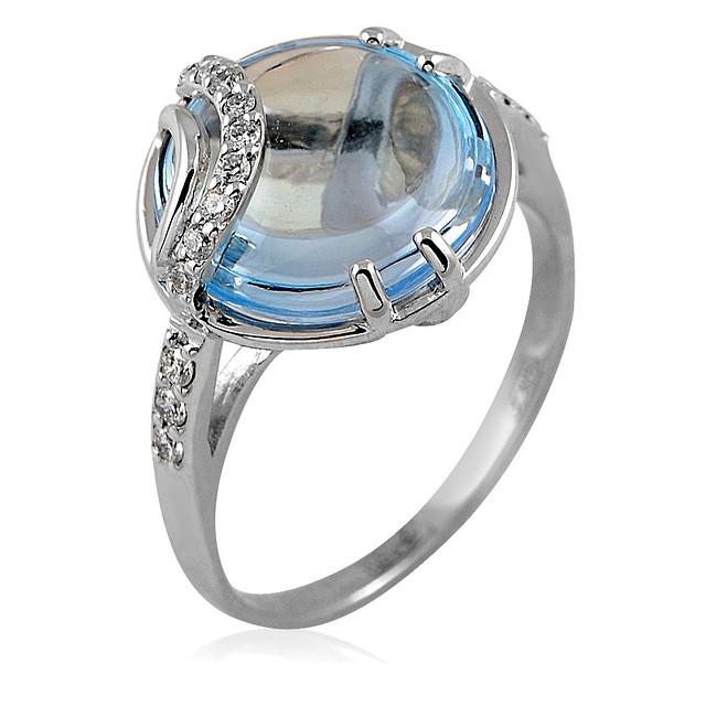 Золотое кольцо с огромным топазом и бриллиантами