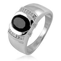 Золотое кольцо из белого золота с ониксом и бриллиантами