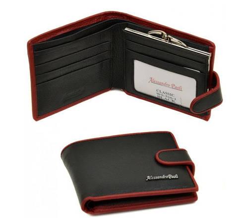 Женский кожаный классический кошелек Classik-color Alessandro Paoli WS-516-1 black (черный)