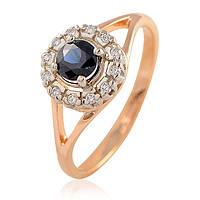 Золотое кольцо с сапфиром и бриллиантами - 2.87 гр, фото 1