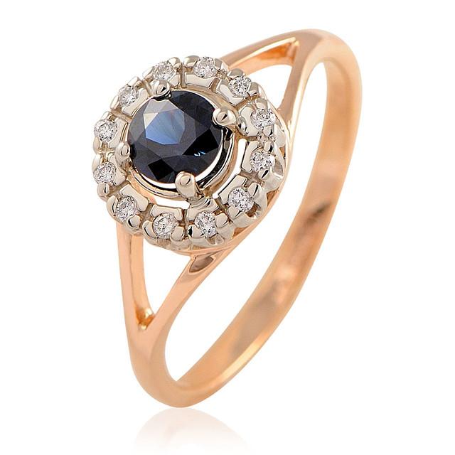 Золотое кольцо с сапфиром и бриллиантами - 2.87 гр