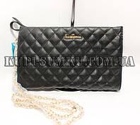 Классический женский черный сумочка-клатч кожзамс золотой цепочкой на змейке