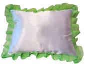 Подушка под сублимацию с салатовым рюшем ( размер 40х30см, атлас )