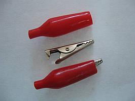 """Зажим типа """"крокодил"""" MINI 27 мм, в изоляции (красный)"""