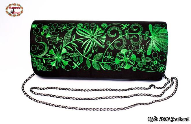 Вышитый зелёный клатч Очарование, фото 2