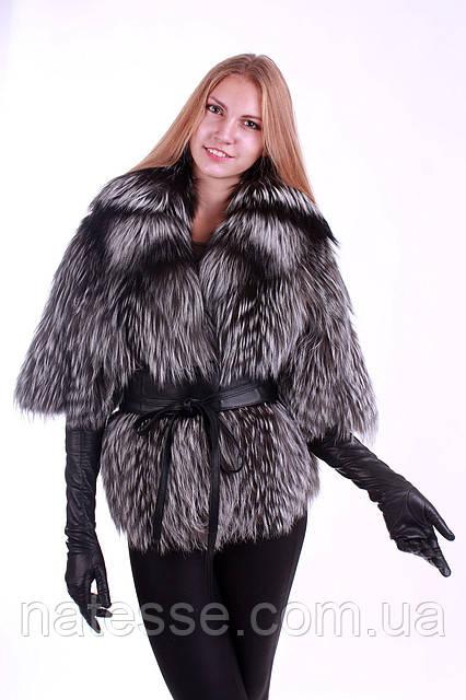 Полушубок из чернобурки с отложным  воротником silver fox fur coat  over coat