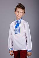 Подростковая вышиванка для мальчика из натуральной ткани с синим орнаментом