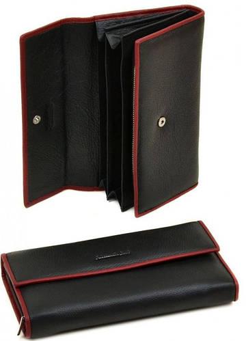 Женский кожаный модный кошелек Classik-color Alessandro Paoli WS-516 black (черный)
