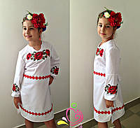 """Белое платье ,,вышивка"""" крестиком"""