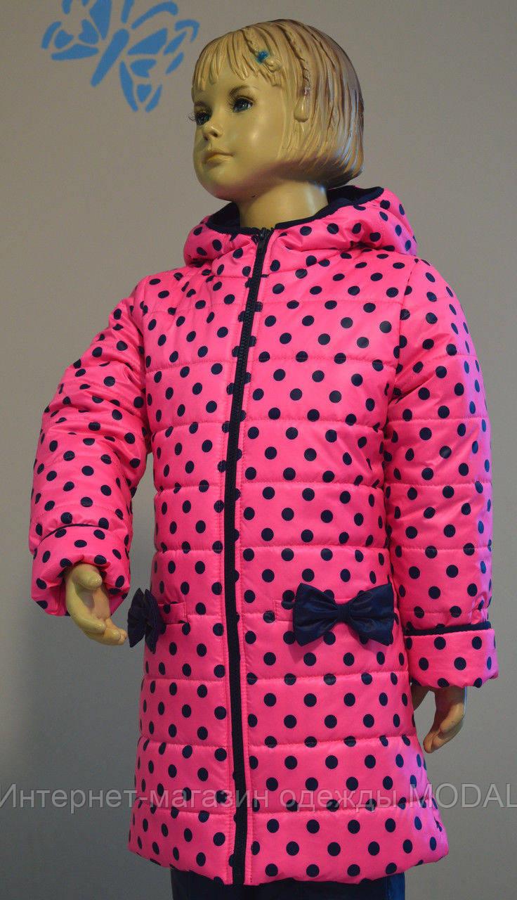 Пальто для девочки демисезонное розового цвета в горошек 92-98-104 см, фото 1