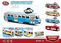 """Модель трамвай PLAY SMART 9708C Автопарк"""" инерц.откр.дв.свет,зв.кор.30*5,7*7,7"""