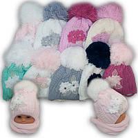 Детский комплект - шапка и шарф для девочки, Agbo (Польша), подкладка флис, BELLA 908