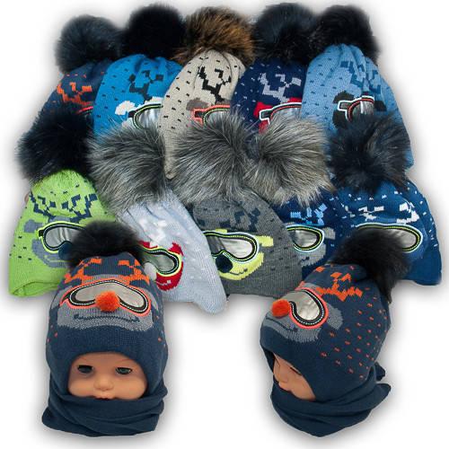 Детский комплект - шапка и шарф для мальчика, Agbo (Польша), подкладка флис, RENIFER 888