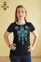 Жіноча вишита футболка Писанка бірюзова