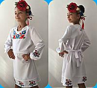 Белое платье, вышивка крестиком и гладью