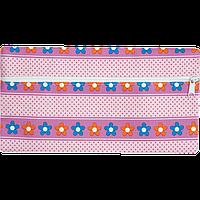 Пенал ZiBi плоский 21 x 11 х 1 см, искусственная кожа, розовые цветочки и горох (ZB16.0448)
