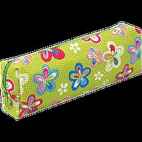 Пенал ZiBi прямоугольный 19 x 6 x 4 см, искусственная кожа, зеленый в цветочек (ZB16.0464)