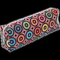 Пенал ZiBi прямоугольный 19 x 6 x 4 см, искусственная кожа, розовый с кругами (ZB16.0465)