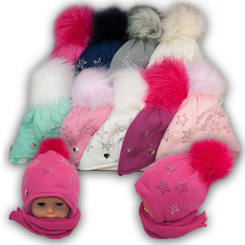 Детский комплект - шапка и шарф для девочки, Agbo (Польша), подкладка SUPERWARM, 875