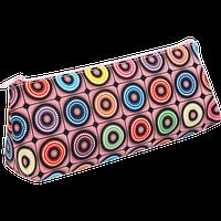 Пенал ZiBi треугольный 19 x 6,5 x 4,5 см, искусственная кожа, розовая клетка с кругами (ZB16.0471)