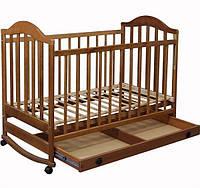 Детская кроватка Laska-M Наполеон с ящиком (тонированый орех)