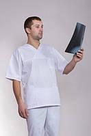 Классический белый медицинский костюм мужской (батист)