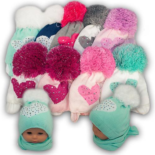 Детский комплект - шапка и шарф для девочки, Agbo (Польша), подкладка флис, SERCE 892