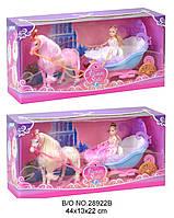 Карета 28922B с лошадью и куклой батар.муз.2цв.кор.44*13*22