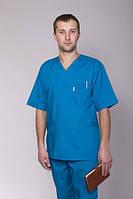 Медицинские мужские костюмы из хлопковой ткани бирюзовый размер 42-60