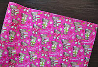 Крафт-бумага подарочная Мишки на малиновом фоне 10 м/рулон